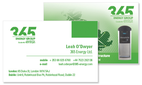 business card sample for energy company in dublin