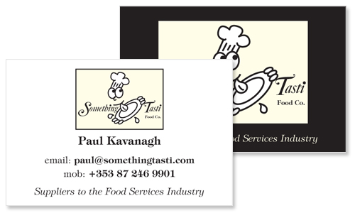 business card sample for food services company