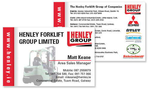 business card sample for forklift company in dublin