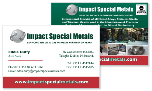 business card sample for international metal company