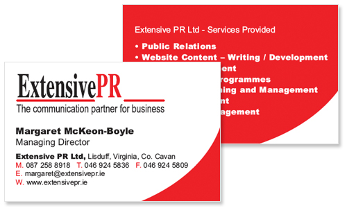 business card for pr company