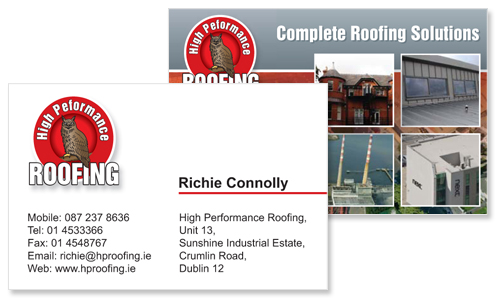 great sample of business card design for roofing company