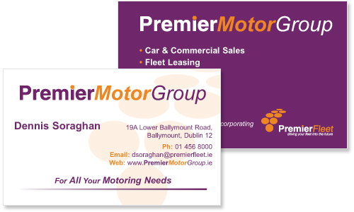 business card sample for car company