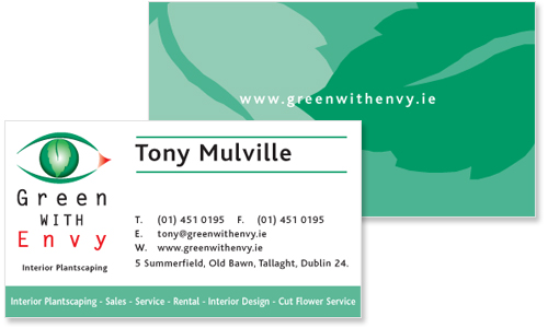 sample of great business card design for Green with Envy