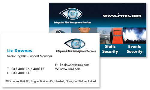 business card sample for security company in dublin